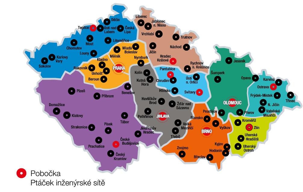 Mapa kontaktů Inženýrské sítě v ČR, seznam specialistů inženýrských sítí Ptáček a mapa poboček se skladovým sortimentem IS
